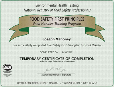 how to take food handing certificate