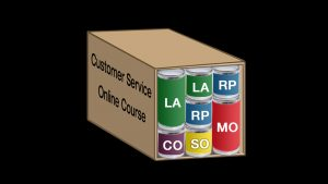 Box with stacked cans resembling Learning Leader Customer Service Process.