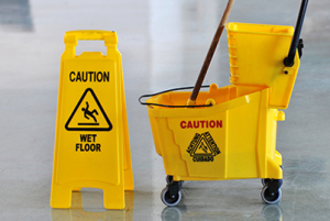 Store Safety bright yellow caution signs.