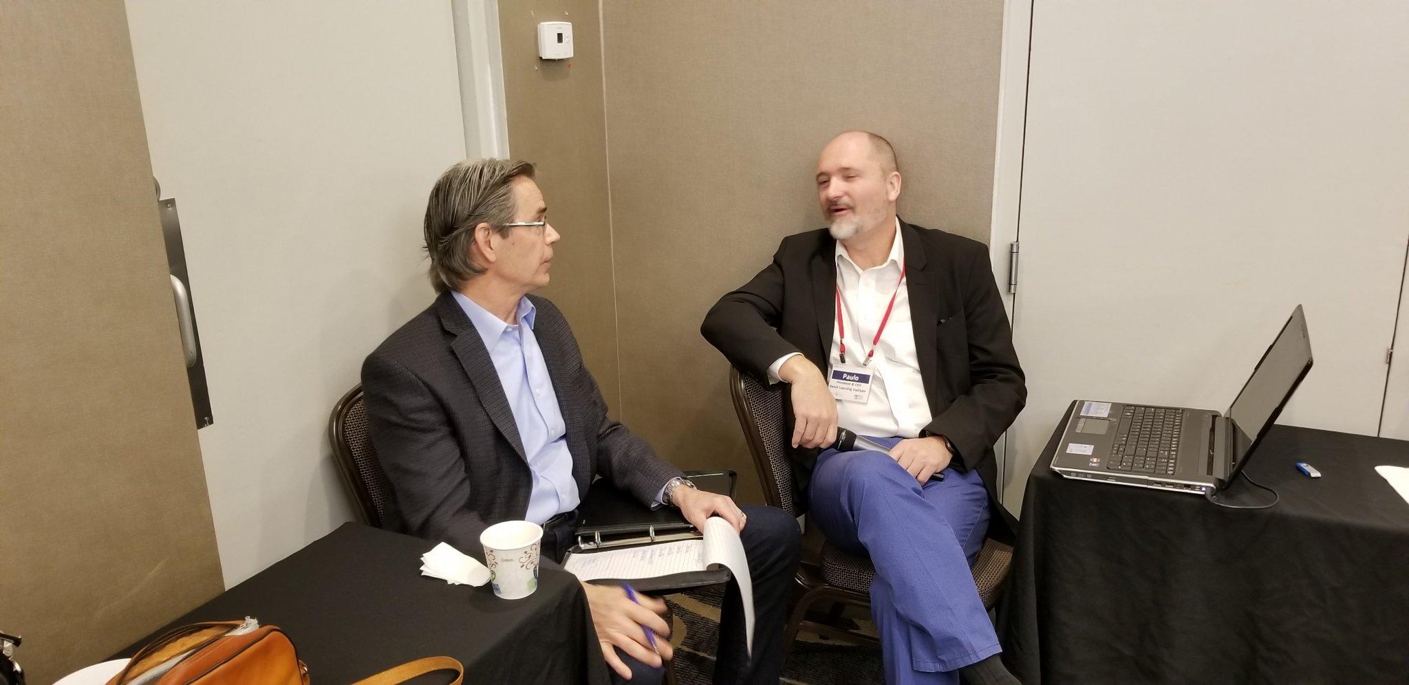 Harold Lloyd and Paulo Goelzer conversing