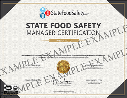 Food Training Manager Training Certificate