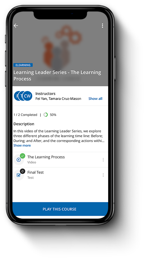 Phone showing Learning Leader Series course in Go Learn app